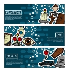 Set of Horizontal Banners about funeral vector image