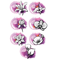 stickers with heads of the flowers vector image