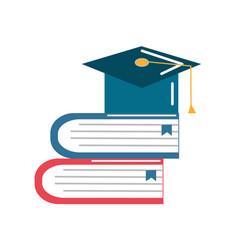 Books tools with graduation cap icon vector
