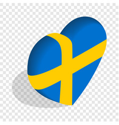 heart of sweden flag colors isometric icon vector image vector image