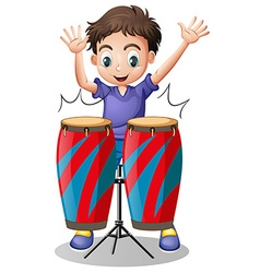 Little boy playing with drums vector image vector image