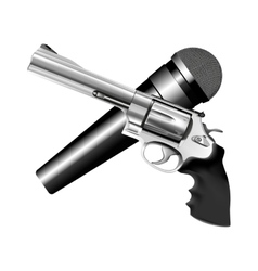 microphone and revolver vector image vector image