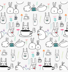 pattern cute bunny with coffee and flower vector image