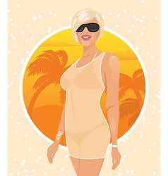 pretty girl on summer background - vector image vector image