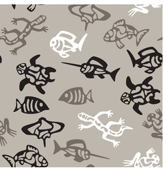 seamless grayscale pattern with aquatic animals vector image