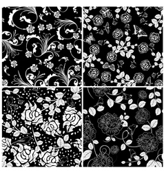 floral seamless set vector image