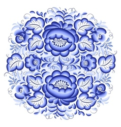 Ornate blue and white floral circle vector image