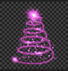 purple particle wave in form of christmas tree vector image vector image