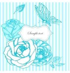 roses and butterfly frame vector image vector image