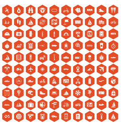100 voyage icons hexagon orange vector