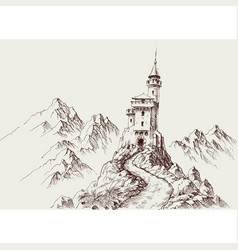 a castle in rocky mountains hand drawing vector image