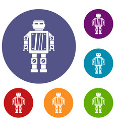 Abstract robot icons set vector