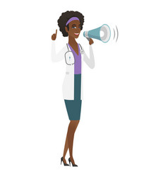 African-american doctor talking into loudspeaker vector