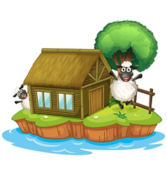 An island with a native house and two sheeps vector