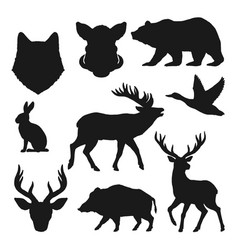 animals silhouettes hunting icons wild bear deer vector image