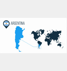 Argentina map located on a world map with flag vector