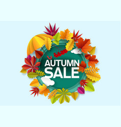 autumn sale paper cut discount label poster vector image