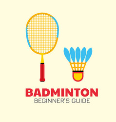 badminton colorful racket with shuttlecock kit vector image