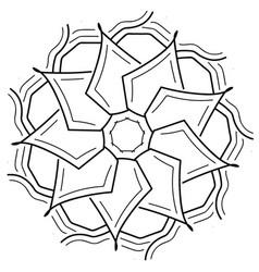Beautiful black delicate flower mandala vector