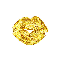 Beautiful golden luxury lips kiss vector