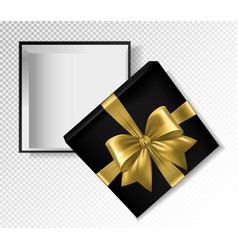 Black gift box with gold ribbon and bow - top view vector