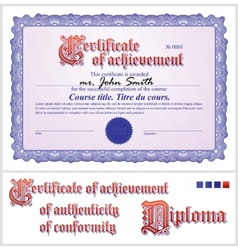 Blue certificate Template Horizontal vector image