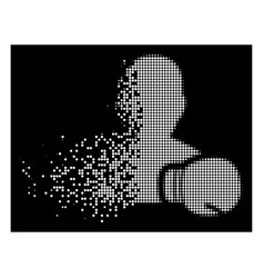 Bright dissipated dotted halftone boxing sportsman vector