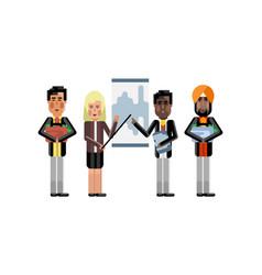 Business team presentation near whiteboard vector