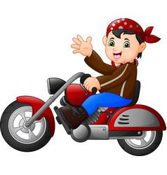 Cartoon boy funny riding a motorcycle vector
