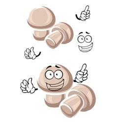 Cartoon funny champignon mushrooms characters vector