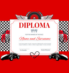 Certificate car races and speed winner diploma vector