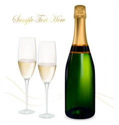 champagne with glasses vector image