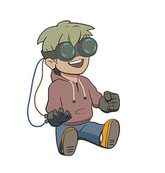 Chibi kid with Virtual reality glasses vector