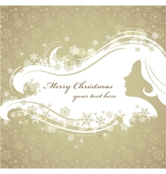 christmas background with woman silhouette vector image