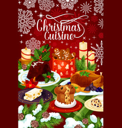 christmas cuisine winter holiday dinner banner vector image