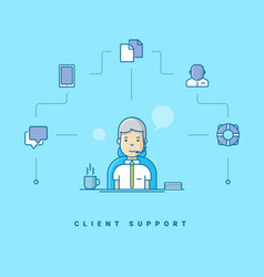 client support cartoon character talking on vector image