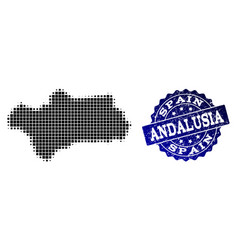 Collage of halftone dotted map of andalusia vector