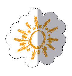Color sticker with abstract sun vector