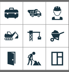Construction icons set collection of carry cart vector