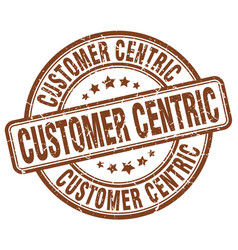 Customer centric brown grunge stamp vector