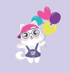 cute kitten cartoon holding balloon vector image