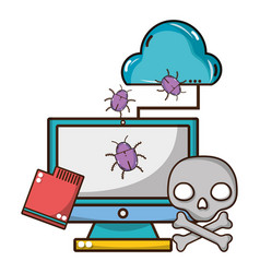 cybersecurity threat cartoon vector image