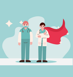 Doctor hero physicians professional staff with vector