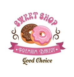 Donut shop retro icon design with glazed doughnuts vector