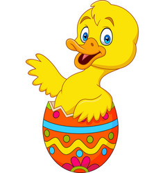 Duckling coming out of an easter egg vector
