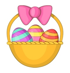Easter basket icon cartoon style vector