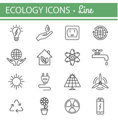 ecology and energy line icons vector image