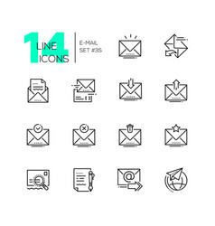 email - set of line design style icons vector image