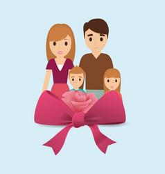 Family lovely flower ribbon bow vector