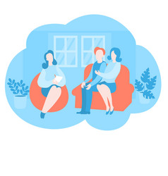 Family with psychologist couple psychotherapy vector